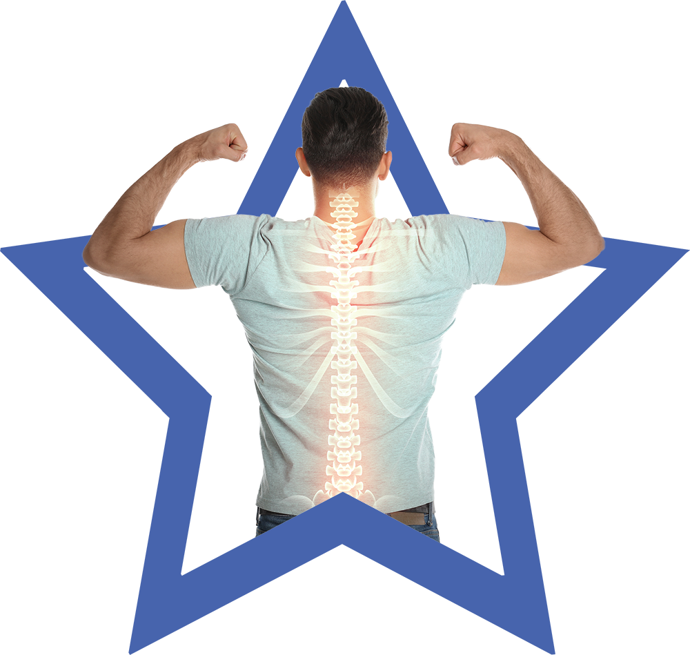 man with the spine graphic on the star background